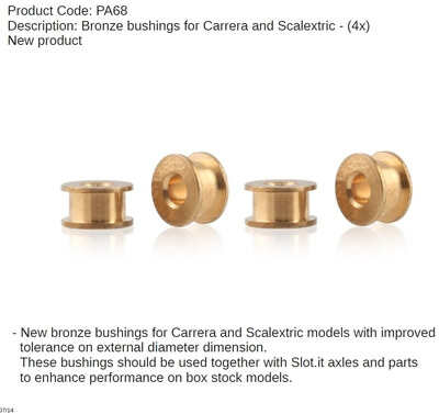 SIPA68 Slot.it Bronze Bushings for Carerra and Scalextric, 4/pk