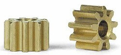 SIPI09 Slot.it Pinion, 9T, Inline, 5.5mm, Brass, 2/pk