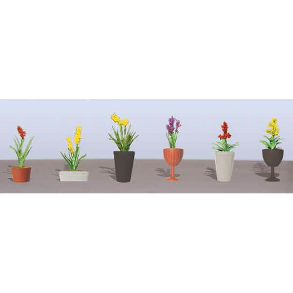 "JTT 95568 Asstd Potted Flower Plants 2, O-Scale 2-1/2"" High 6/pk"