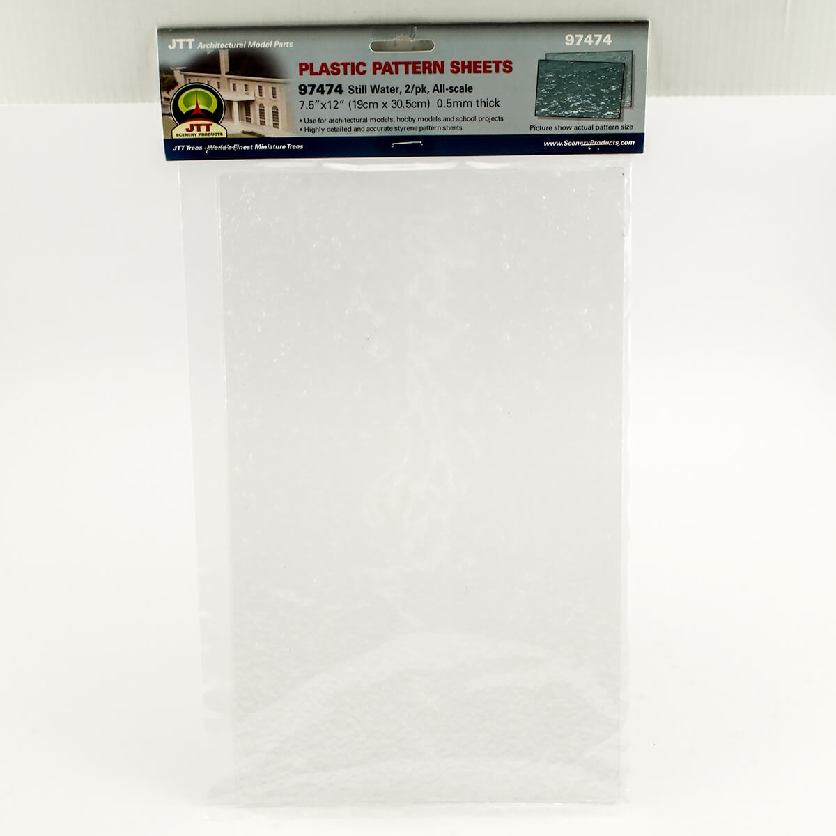 JTT 97474 3MM Wave Still Water Plastic Pattern Sheet, 2/pk