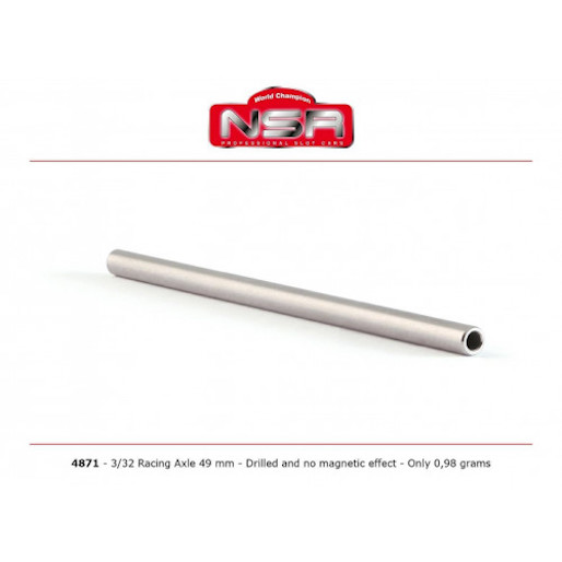 "NSR 4871 3/32"" Drilled Steel Axle 49mm, no magnetic effect"