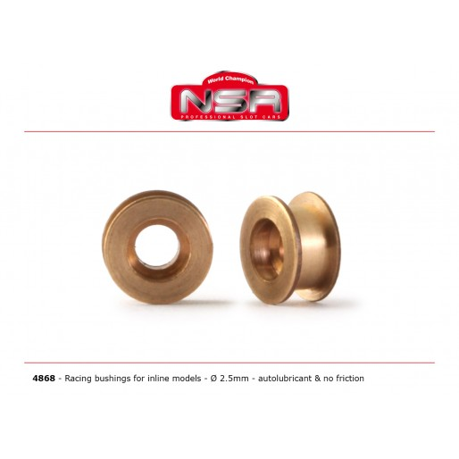 NSR4868 NSR 2.5mm Inline Racing Brass Bushings, Autolubricant
