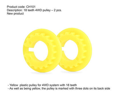 SICH101 Slot.it Yellow Plastic Pulley for 4WD, 18T, 2/pk