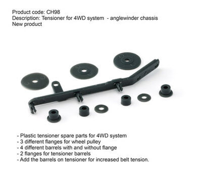 SICH98 Slot.it Tensioner Spare Parts for 4WD Anglewinder Chassis