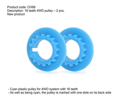 SICH99 Slot.it Cyan Plastic Pulley for 4WD, 16T, 2/pk