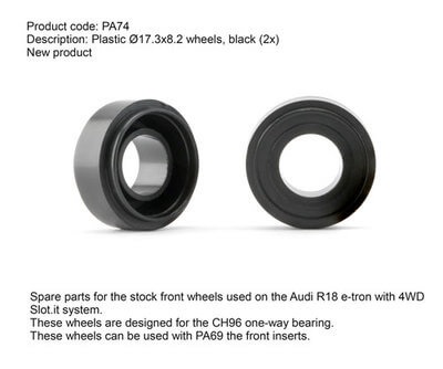 SIPA74 Slot.it Plastic Hubs 17.3 x 8.2mm for 4WD, 2/pk