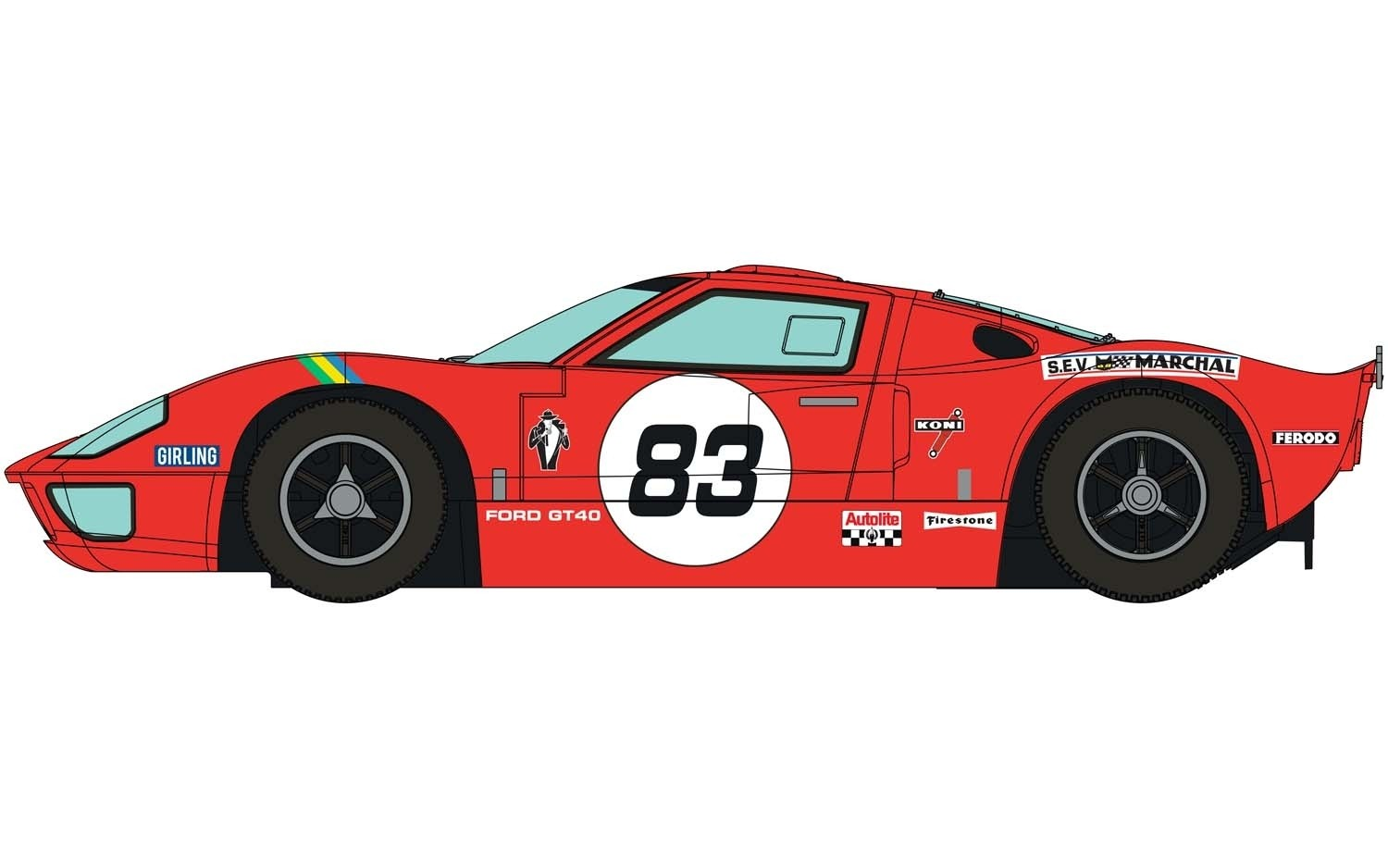 C4152 Scalextric Ford GT40, Red, No.83