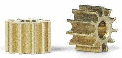 SIPI10 Slot.it Pinion, 10T, Inline, 5.5mm, Brass, 2/pk