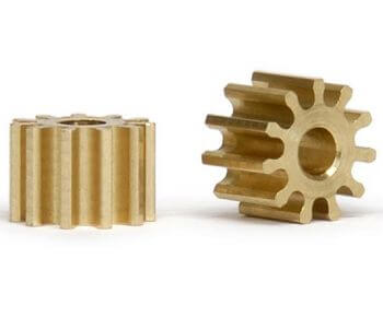 SIPI6711o Slot.it Pinion 11T Anglewinder 6.75mm/2mm, Brass, 2/pk