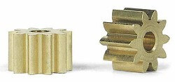 SIPS10 Slot.it Pinion, 10T, Sidewinder, 6.5mm/2mm, Brass,2/pk